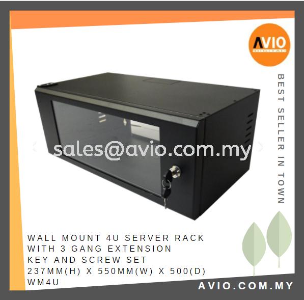 Wall Mount 4U Server Rack with 3 Gang Extension Key and Screw Set 237mm(H) x 550mm(w) x 500(D) WM4U RACK Johor Bahru (JB), Kempas Supplier, Suppliers, Supply, Supplies   Avio Digital