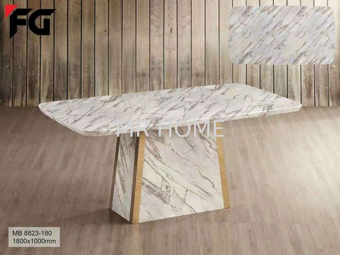 1.8M RECTANGLE 6 SEATER MARBLE TABLE