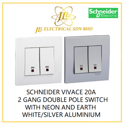 SCHNEIDER VIVACE 20A 2 GANG DOUBLE POLE SWITCH WITH NEON AND EARTH WHITE/SILVER ALUMINIUM [KB32D20NE_WE_G11/KB32D20NE_AS_G11]