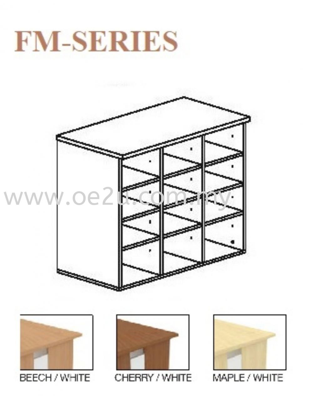 Low Pigeon Hole Cabinet - 2 Tiers (FM Series)
