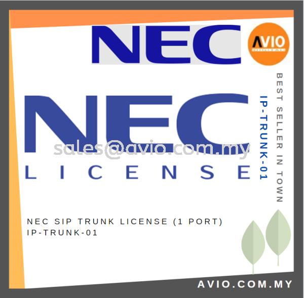 NEC SIP Trunk License ( 1 port ) IP-TRUNK-01 NEC Accessories PABX / KEYPHONE SYSTEM Johor Bahru (JB), Kempas Supplier, Suppliers, Supply, Supplies   Avio Digital