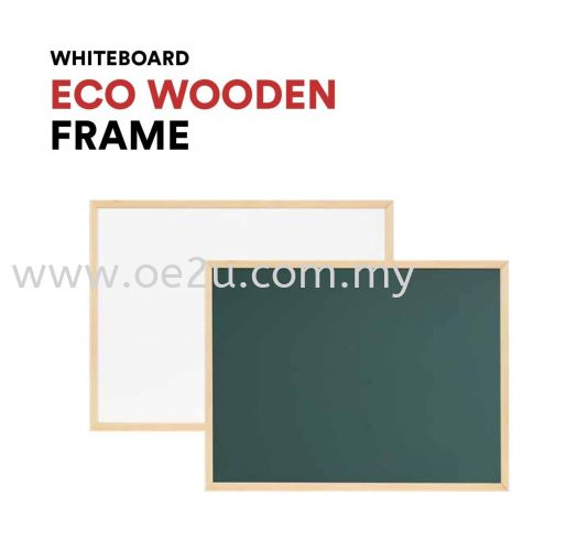 ECO Wooden Frame Magnetic Writing Board (Magnetic Green Surface)
