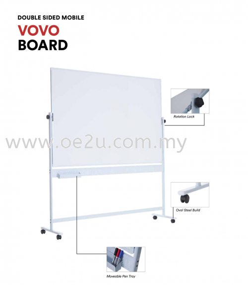 Double Sided Mobile VOVO Magnetic Whiteboard (Coated Steel Magnetic Surface)