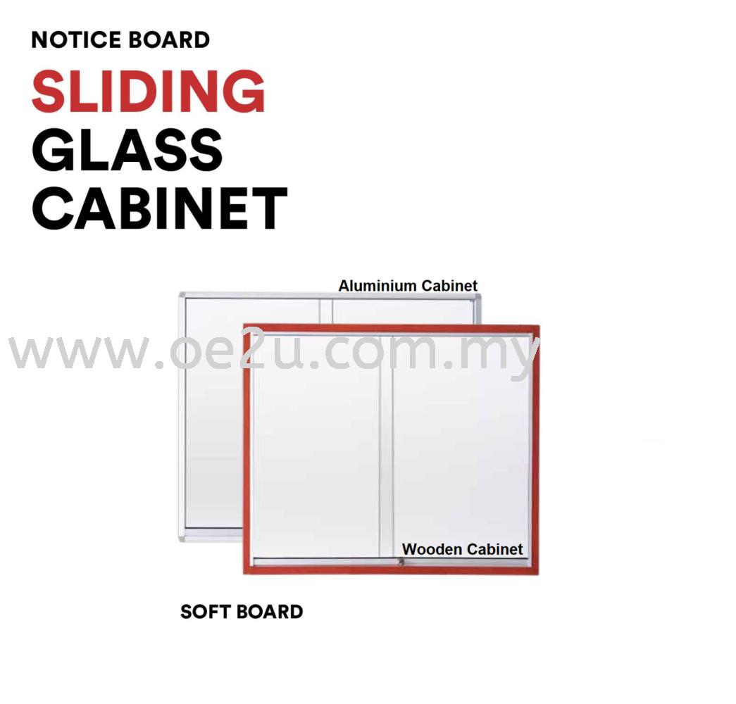 Wooden Sliding Glass Cabinet Notice Board (Soft Board)