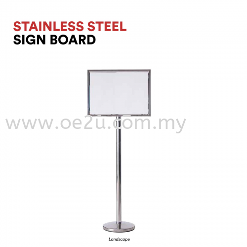 Stainless Steel Sign Board (Landscape Display)