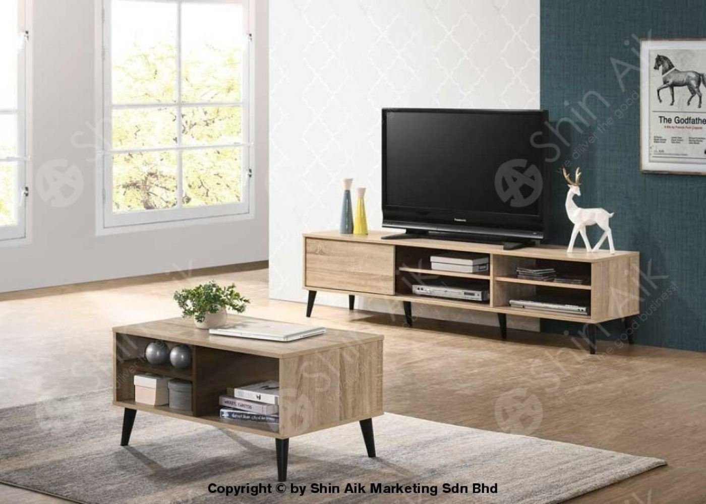 Natural & Walnut Two-Tone Mid-Century TV Cabinet (6'ft) & Coffee Table (Set) - SA1655TV&CT