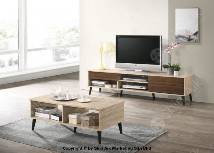Natural & Walnut Two-Tone Mid-Century TV Cabinet (6'ft) & Coffee Table Set - SA1659TV&CT