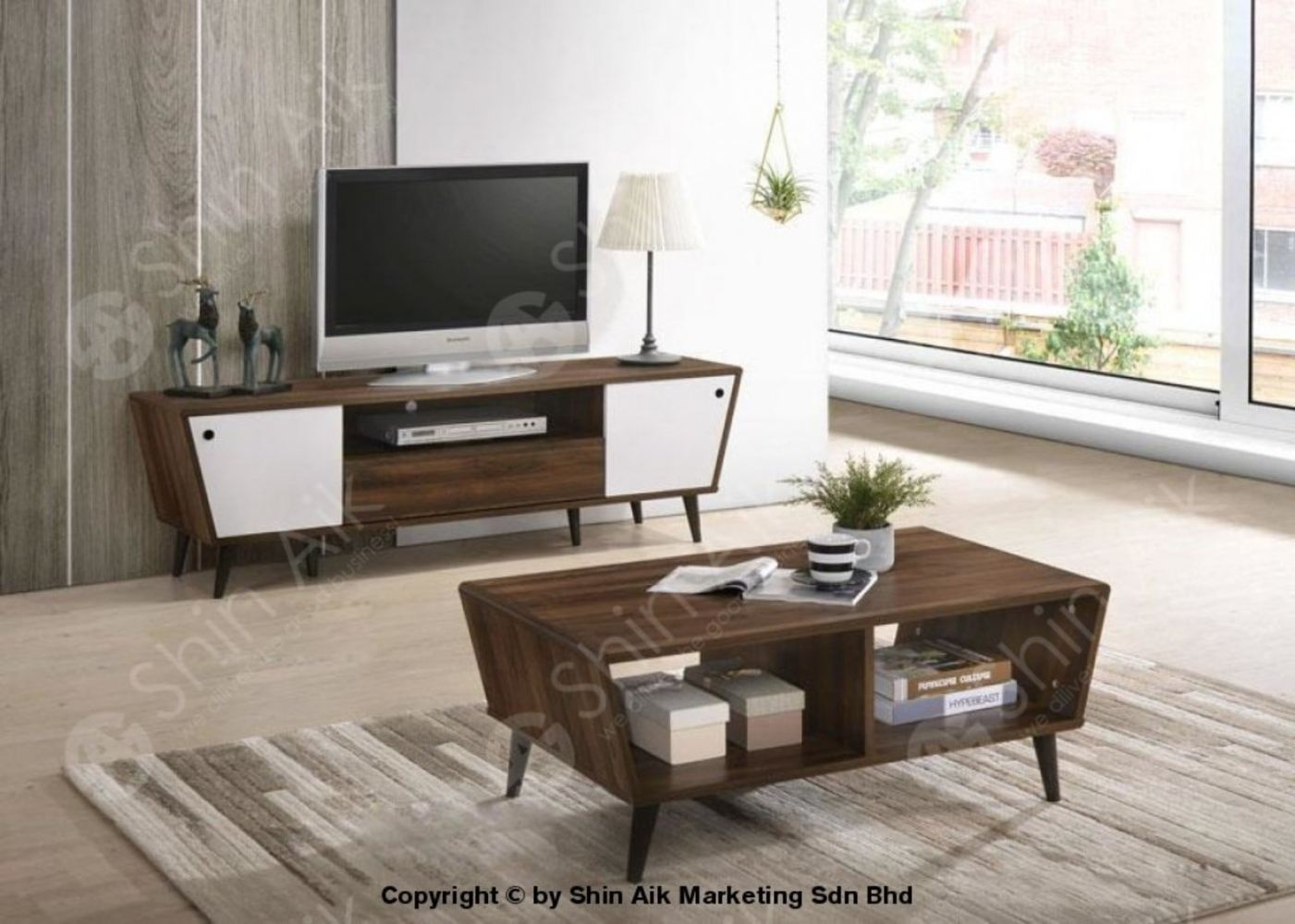Walnut & White Mid-Century Modern Two-Tone TV Cabinet (5'ft) & Coffee Table - SA1632TV&CT