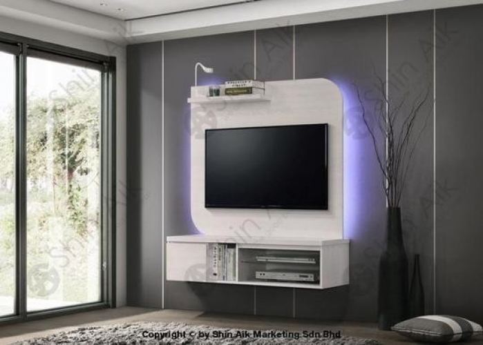 HTV-08 White Pine Modern Feature Wall-Mounted TV Cabinet (4'ft) - SAHTV08