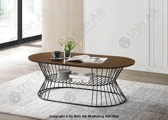 Walnut Oval Industrial Style Coffee Table (4'ft) - SACT2283