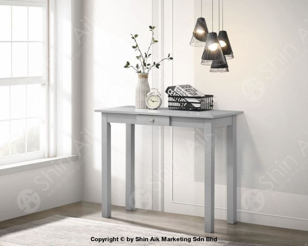 Grey Solid Wooden Console Table (3'ft) - SAML-13