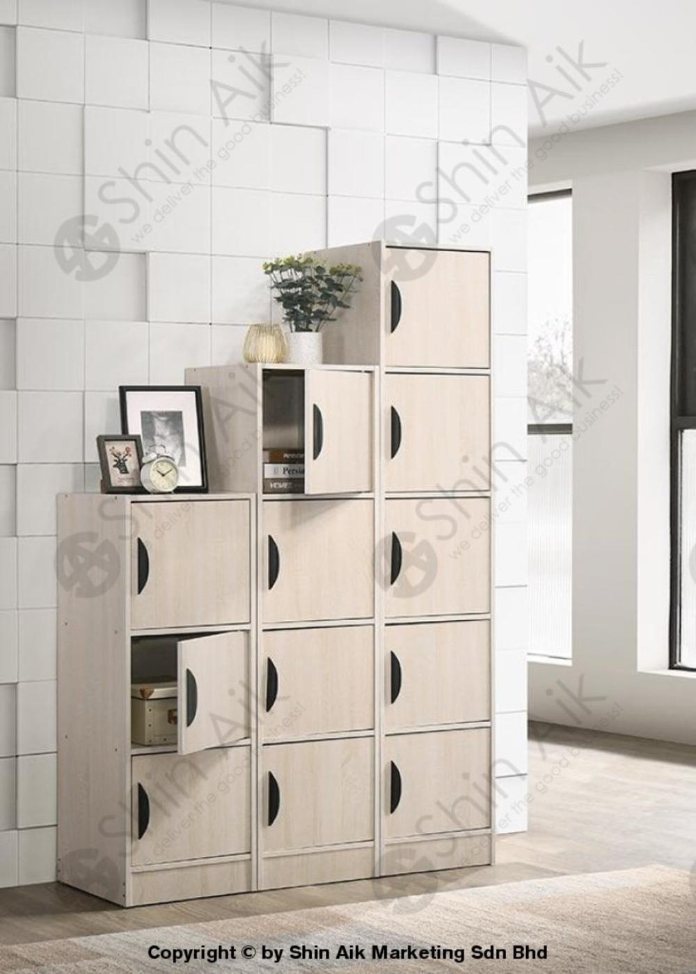 Whitewash & Walnut Single Door Multi-Layer Modular Storage Cabinet - SABC2806