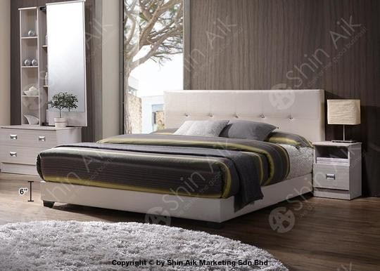 White PU Diamond Buttons Tufted Double Divan Bed (5'HB) - SADB55WH