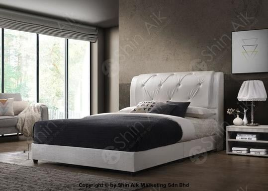 White PU Diamond Buttons Double Layer Tufted Double Divan Bed (8'HB) - SADB58537WH