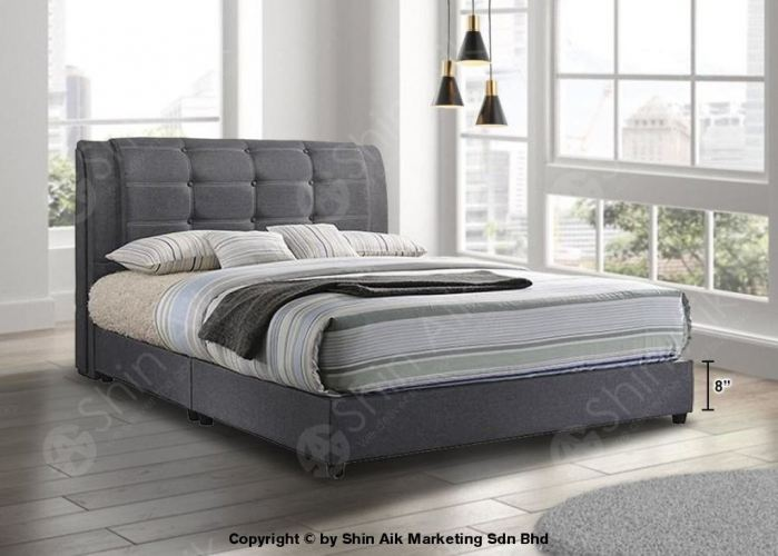 Grey Fabric Buttons Double Layer Tufted Double Divan Bed (9'HB) - SADB58553