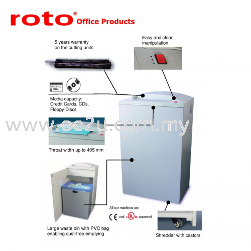 ROTO S600 SC-1 Paper Shredder (Strip Cut: 3.8mm)_Made in Germany