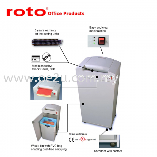 ROTO S400 HS-5 Paper Shredder (Fine Cut: 0.8x12 mm)_Made in Germany