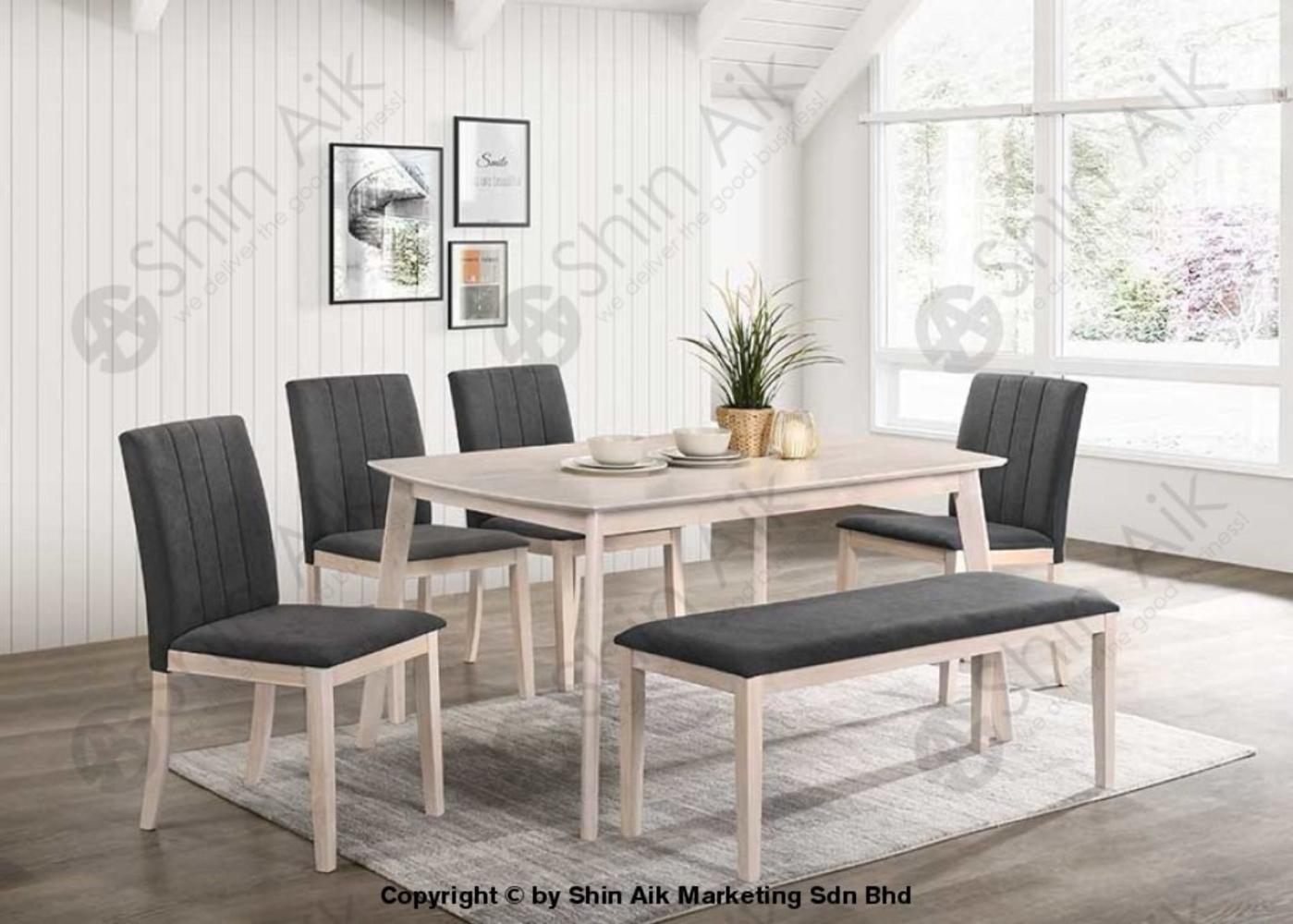Grey & Whitewash Mid-Century Fabric Upholstered Wooden Dining Set (6pax) - SADC2213