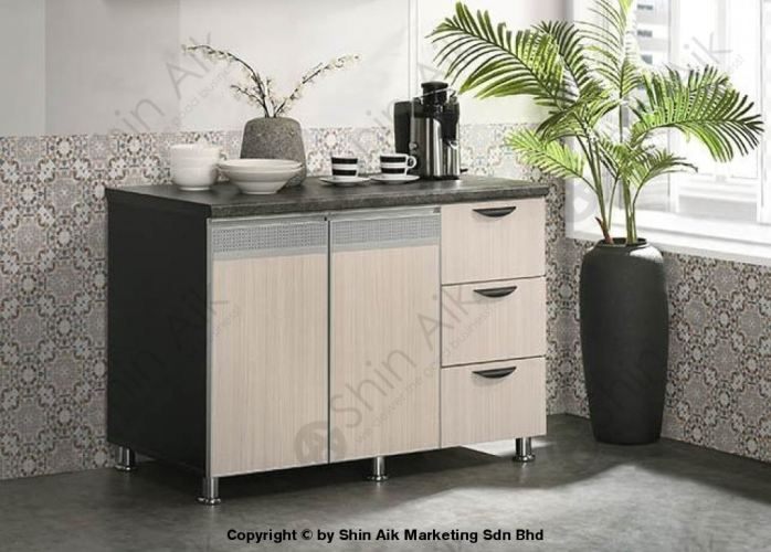 Ash & Grey Two-Tone Modular Low Kitchen Cabinet (4'ft) - SA3318-220