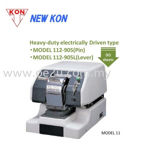NEW KON 112-905L Heavy Duty Electric Lever Perforator (Double Line 8-Digit Perforator: Date / Numbers)