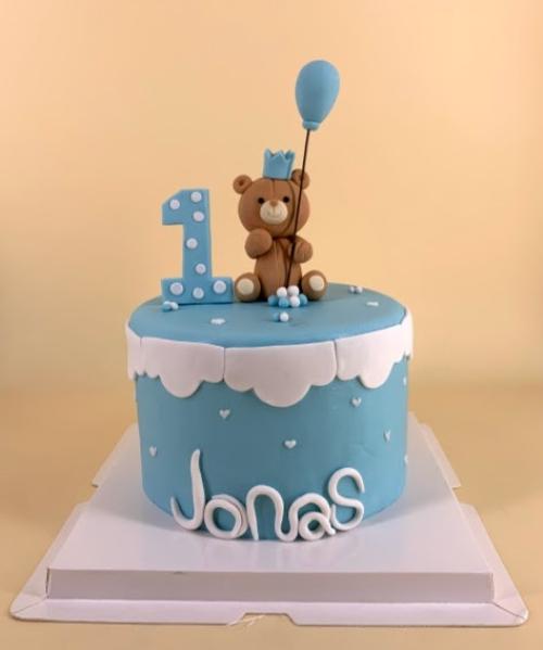 Baby Teddy in Blue - Fondant Cake