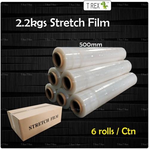 (1 CTN) 500mm x 2.2kgs x 0.2kg Core x 6 Rolls -  Stretch Film