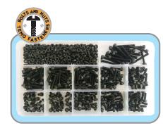 440pc M3 Socket Head Cap Screw & Nut Set - Grade 12.9/Black