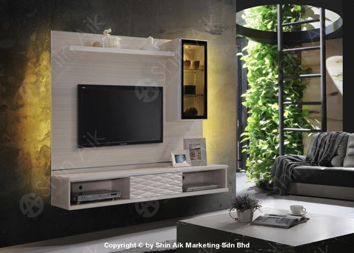 TESORO (WP) Ash Modern Feature Wall-Mounted TV Cabinet (6'ft) - SA128-WP11+611