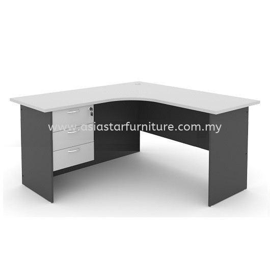 5' L Shape Office Table/Desk c/w Hanging Drawer (Color Grey) - L shape table Top 10 Best Selling | L shape table Cheras | L shape table Ampang | L shape table Sungai Besi