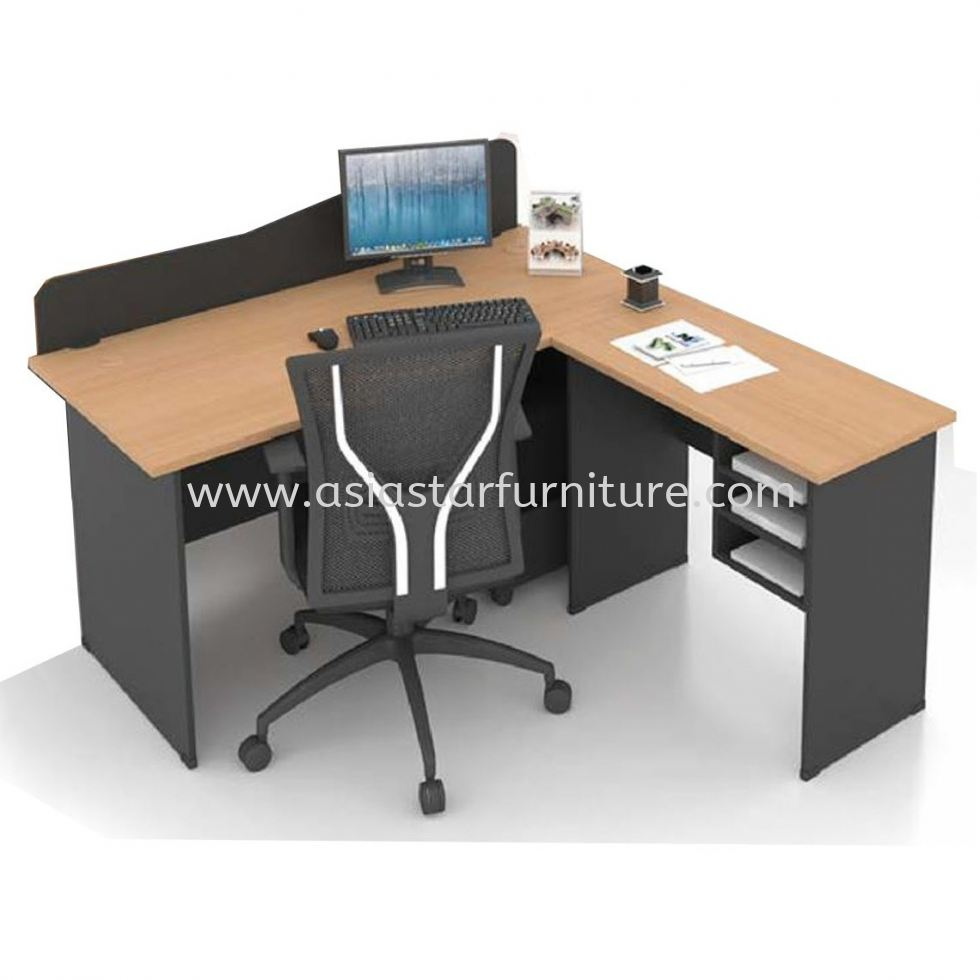 FOBIES 4' OFFICE TABLE WITH PARTITION BOARD C/W SIDE TABLE & RETURN RACK SET- office table Bangsar | office table Bangsar South | office table Kelana Jaya | office table Brickfields
