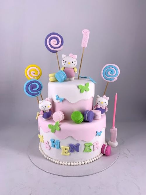 Hello Kitty and friends Fondant Cake (2 tiers)
