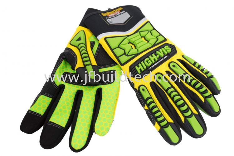 High Visibility Impact Resistant Gloves Cut Resistant Anti-Vibration Oil and Gas Ringers Impact Gloves