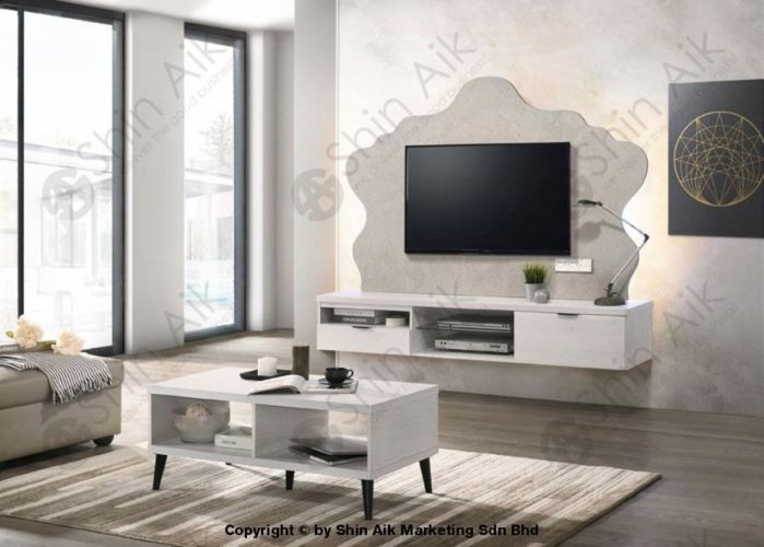 HTV-10 White Pine & Concrete Two-Tone Royal-Shape Feature Wall-Mounted TV Cabinet (6'ft) - SAHTV10