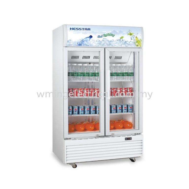 Hesstar 880L 2 Self-closing Doors with Tempered Glass No Frost Design Drink Showcase Vertical LED Light HDS-D883L