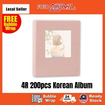 4R-200pcs fabric cover Pocket AlbumReady Stock---pink girl