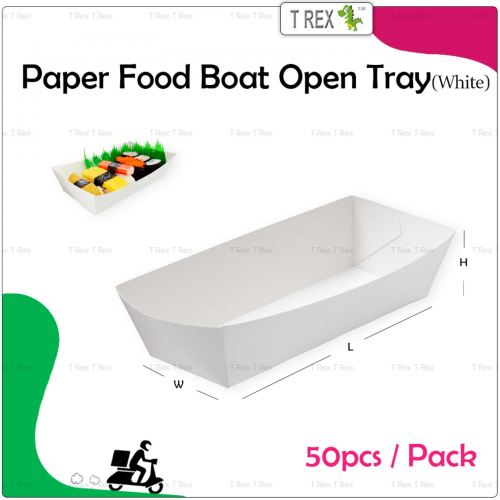 [READY FOLDED] 50pcs White Disposable Paper Food Boat Tray / Paper Snack Open Tray