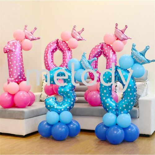 16inch Foil number and latex balloon Number Balloon Set