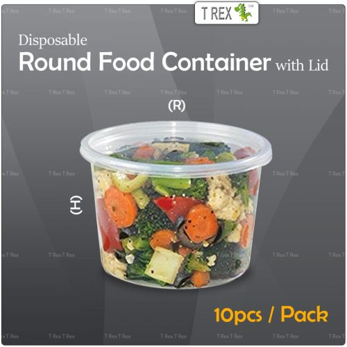 10pcs Microwave Disposable Plastic Round Food Container - 2 Sizes