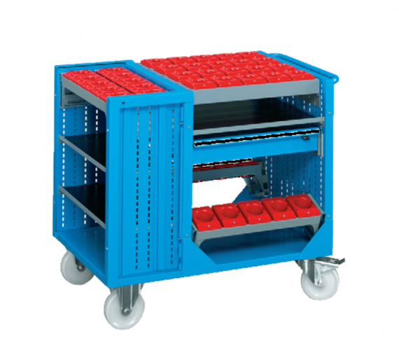 1073 x 685 x 890(h)mm Professional Heavy Duty Combination Tool Storage Trolley with 8 Tool Carriers (Model 3)