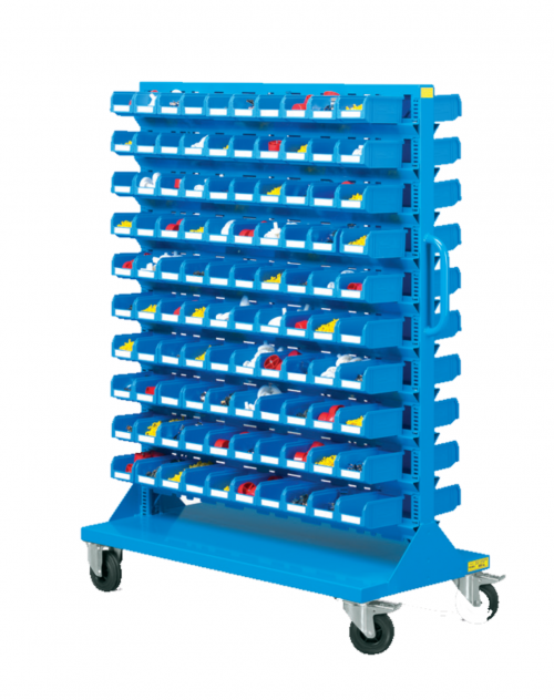 1207 x 540 x 1530(h)mm Professional Double Sides 10-Shelf Plastic Storage Bin Trolley (Completed with 200 Bins, Model D72)