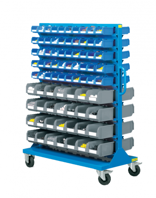1207 x 540 x 1530(h)mm Professional Double Sides 9-Shelf Plastic Storage Bin Trolley (Completed with 156 Bins, Model E72)