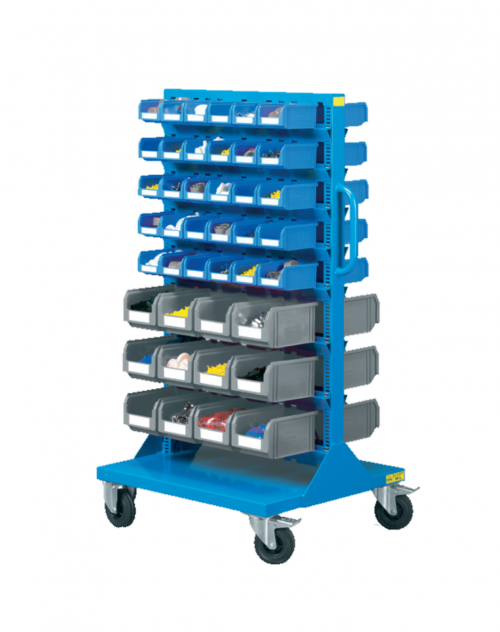 805 x 655 x 1395(h) Professional Double Sides 8-Shelf Plastic Storage Bin Trolley (Completed with 84 Bins, Model G82)