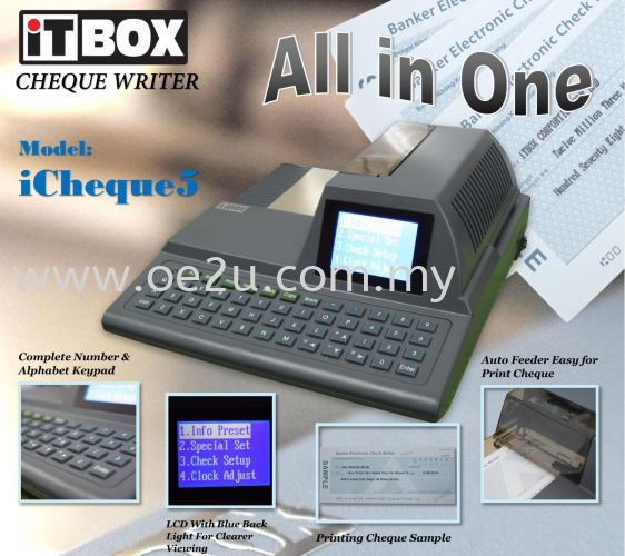 iTBOX iCheque 5 ALL-IN-ONE Cheque Writer (Print Payee Name, Date & Amount)