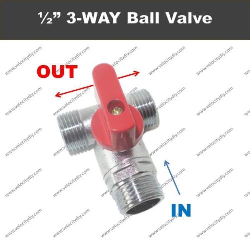 """(三向球阀)15mm 3-Way Brass Ball Valve DLM/1/2"""" One Input And Two Output"""
