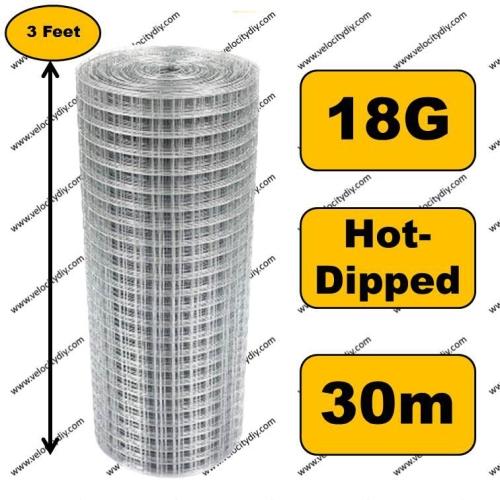 (电焊网/烧烤网/拜拜网/铁网)Welded Hot-Dipped Galvanized Wire Mesh/Jaring Besi/Dawai Besi/Animal Cage/Protect Plant 30m