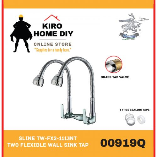 SLINE TW-FX2-1113NT Two Flexible Wall Sink Tap - 00919Q
