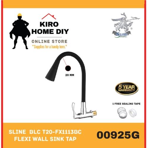 SLINE  BLC T20-FX1113BC Black Flexible Wall Sink Tap - 00925G