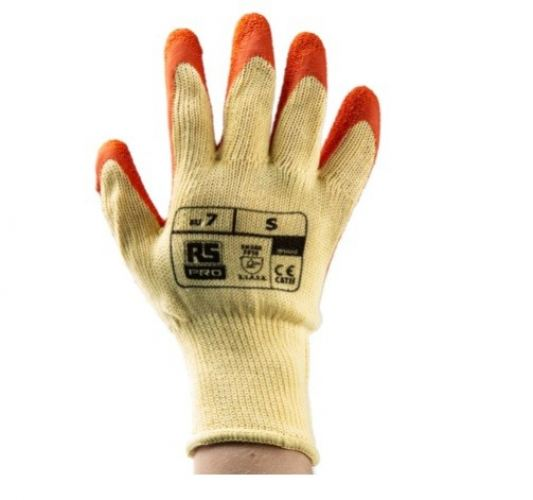 184-6002 - RS PRO Orange Latex Coated Polycotton Work Gloves, Size 7, Small
