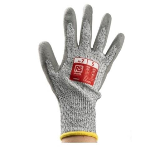 184-6007 - RS PRO Grey Polyurethane Coated HPPE/Nylon/Glass Work Gloves, Size 7, Small