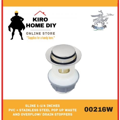 SLINE 1-1/4 Inches  PVC + Stainless Steel Pop Up Waste and Overflow/ Drain stoppers - 00216W